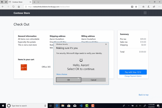 Microsoft анонсировала веб-аутентификацию для Microsoft Edge