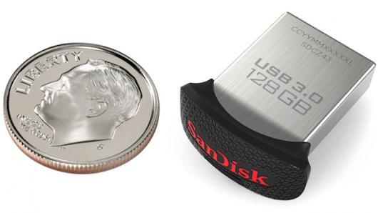 SanDisk выпускает флешку 128 ГБ размером с десятицентовую монету