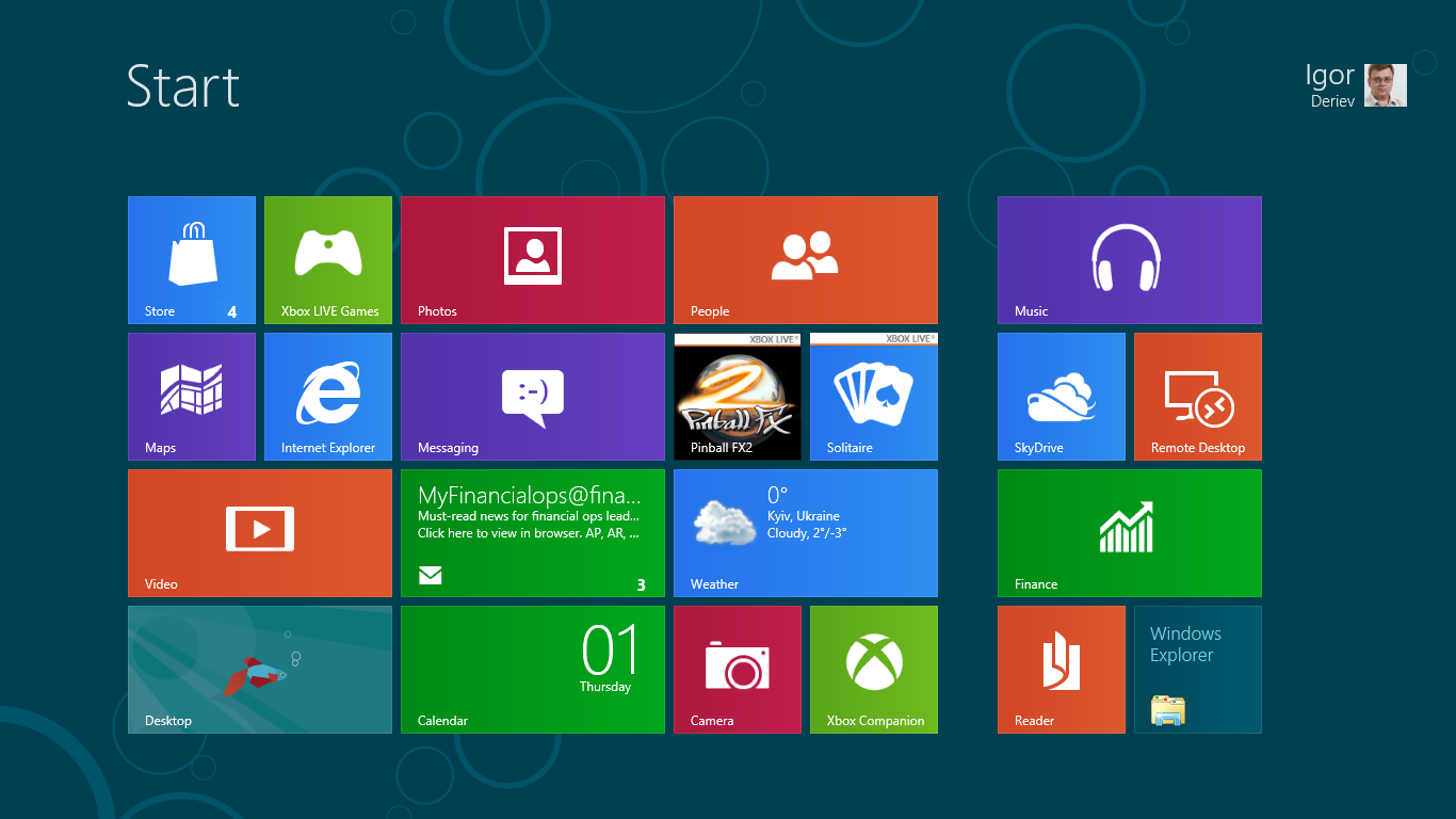 Windows 8 Consumer Preview пятый угол Metro